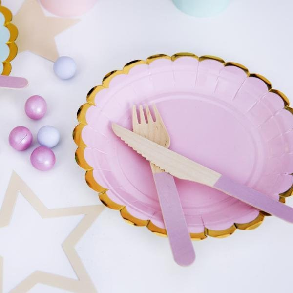 Pastel Pink and Gold Scallop Edge Small Party Paper Plates - Pack of 6