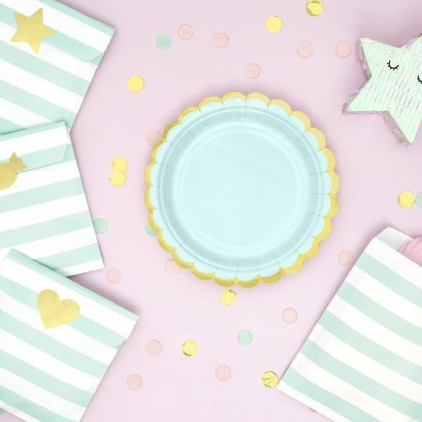 Mint and Gold Scallop Edge Small Party Paper Plates - Pack of 6