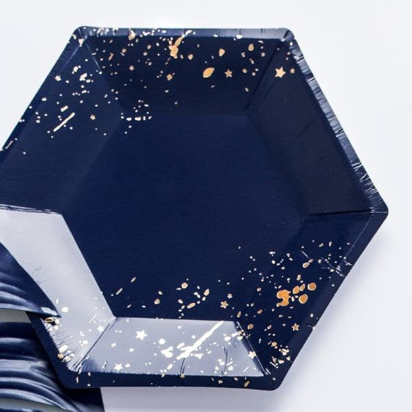 Navy Blue and Gold Splatter Small Party Paper Plates - Pack of 6