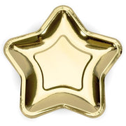 Large Gold Star paper Party Plates - Pack of 6