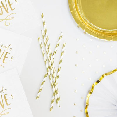 Gold and White Stripe Paper Straws - Pack of 10