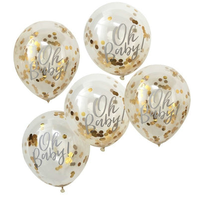 Oh Baby Gold Confetti Balloons - Oh Baby! Baby Shower Balloons - Pack of 5