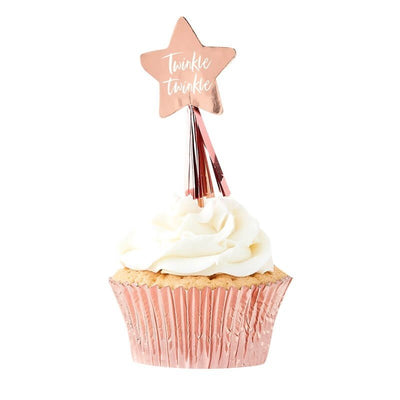 Rose Gold Cupcake Toppers - Twinkle Twinkle Rose Gold Baby Shower Cupcake Toppers - Pack of 12