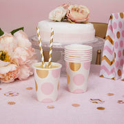 Pink and gold circles cups - Paper cups - Baby shower cups - Birthday cups - Party decorations - Party tableware - Party supplies - 8 cups