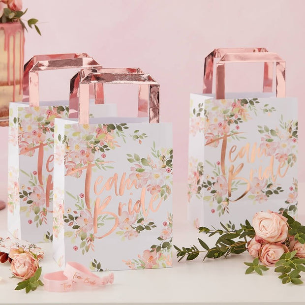 Team Bride Party Bags - Hen Party Floral and Rose Gold Paper Party Bags - Pack of 5