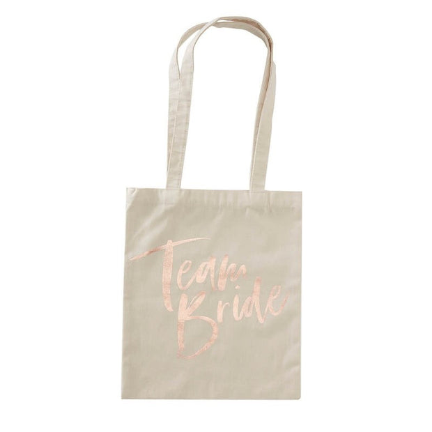 Team Bride Tote Bag - Rose Gold and Blush Hen Party Tote Bag - Bachelorette Party Bag - Hen Do Keepsake