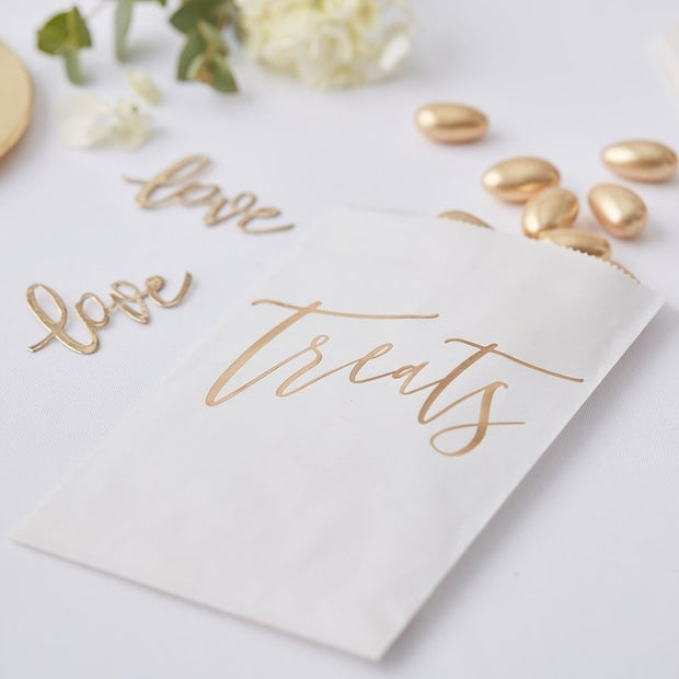 White and Gold Treat Bags - Gold Wedding Candy Cart Bags - Gold and White Favor Bags - Goodie bags - White and Gold Paper Bags - Pack of 20