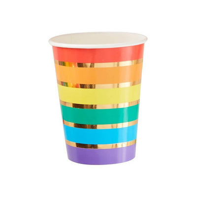 Rainbow and Gold Stripe Party Paper Cups - Pack of 8