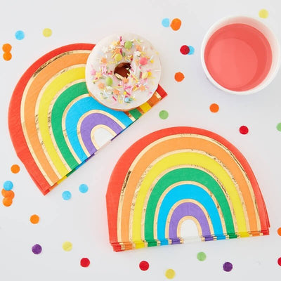 Rainbow and Gold Stripe Party Paper Napkins - Rainbow Party Decorations - Pack of 16