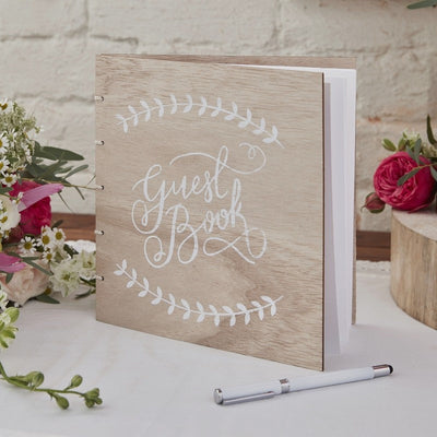 Wooden Wedding Guest Book With White Script - 32 Blank Pages
