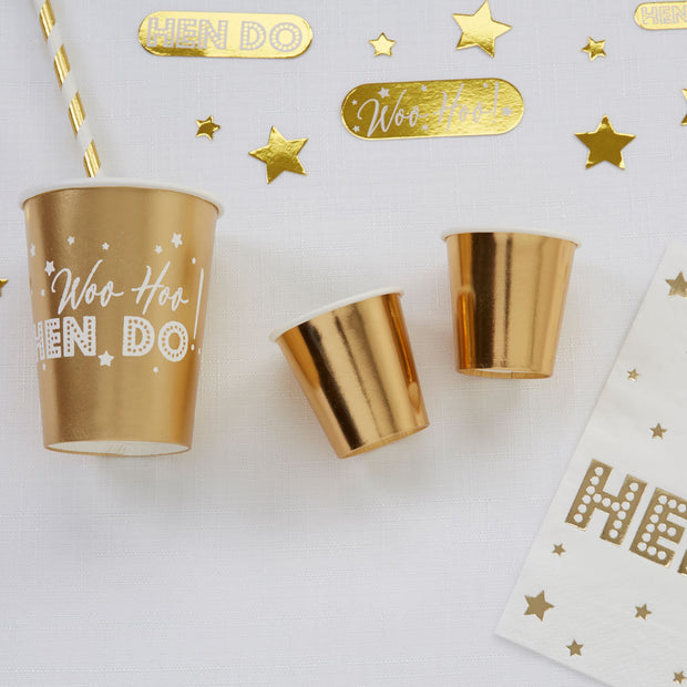 Gold Mini Paper Cups - Gold Foiled Paper Shot Glasses - Small Gold Party Paper Cups - Pack of 8