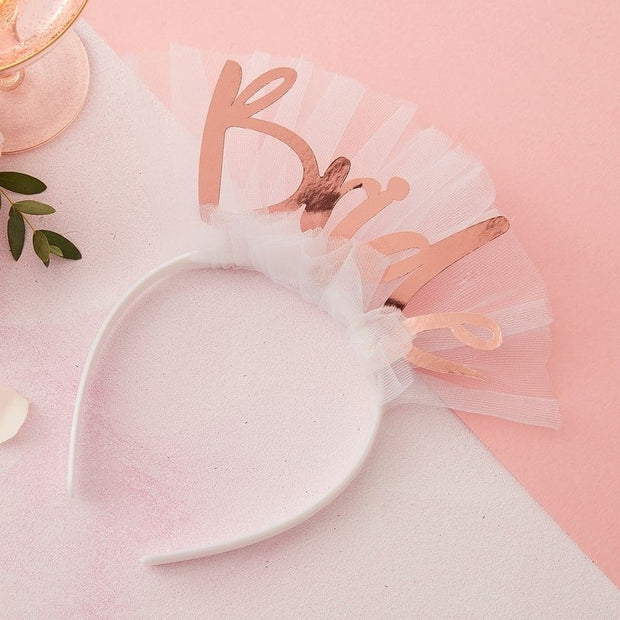 Rose Gold Bride Headband - Bride To Be Headband Veil - Hen Party Headband - Bachelorette Accessories