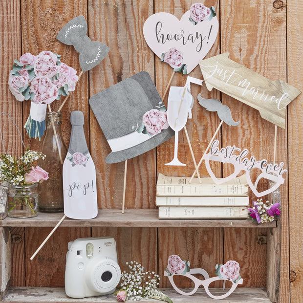Wedding Photo Booth Props - Rustic Country Wedding - Wedding Table Props - Pack of 10