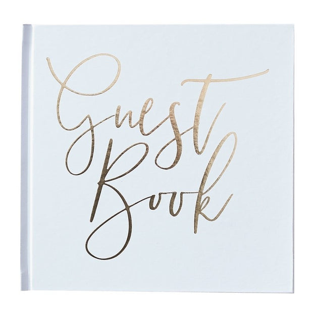 White and Gold Foiled Wedding Guest Book, Gold Wedding Guest Book