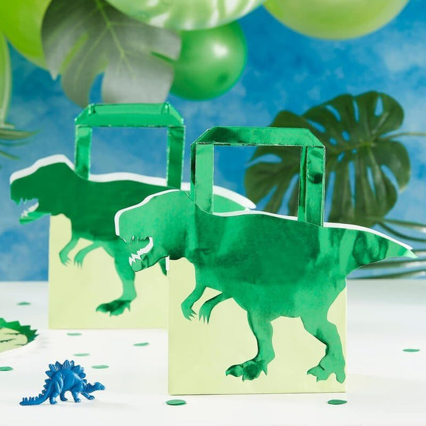 Dinosaur Party Bags - Green Dino Roarsome Paper Favour Bags - Pack of 5