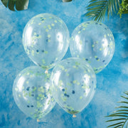 Green and Blue Confetti Balloon - Roarsome Dinosaur Theme Party Balloons - Pack of 5
