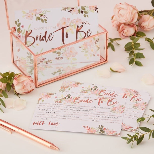 Team Bride Advice Cards - Floral Hen Party Bride To Be Advice Cards - Pack of 10