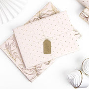 Light Pink and Gold Leaves and Dots Wrapping Paper - Gift Wrap Rolls - Pack of 2