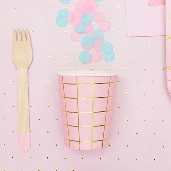 Light Pink Gold Grid Cups - Pink and Gold Party Paper Cups - Pack of 6