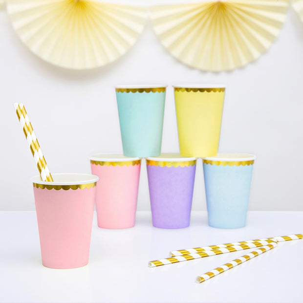 Pastel Pink and Gold Foil Paper Party Cups - Pack of 6