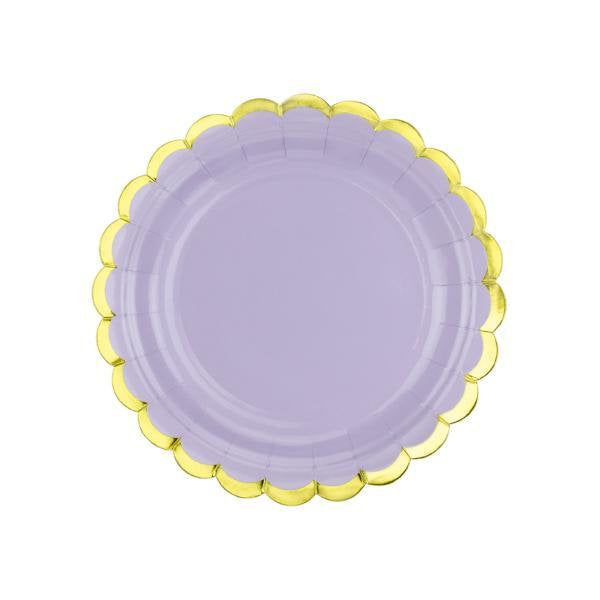 Pastel Lilac and Gold Scallop Edge Small Party Paper Plates - Pack of 6