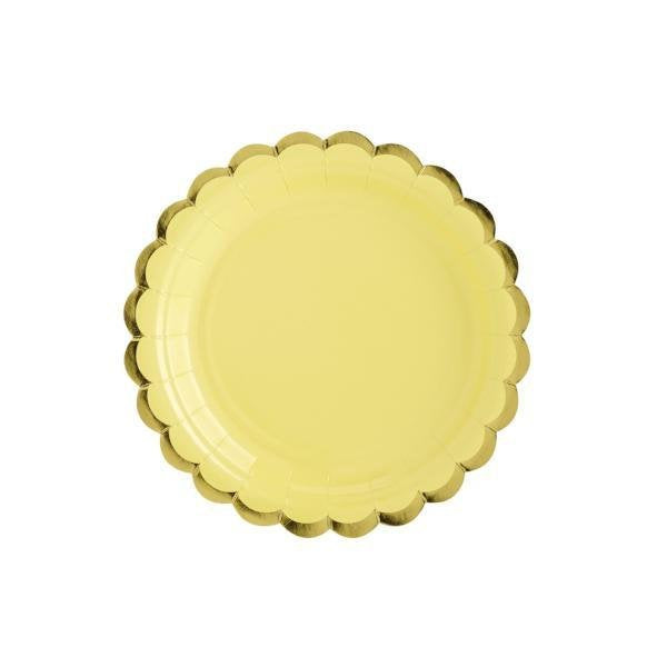 Pastel Yellow and Gold Scallop Edge Small Party Paper Plates - Pack of 6