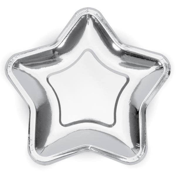 Large Silver Star paper Party Plates - Pack of 6