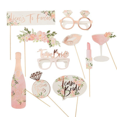 Team Bride Photo Booth Props - Floral Hen Party Props