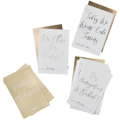Gold Wedding Milestone Cards - White and Gold Wedding Keepsake Cards - Pack of 24