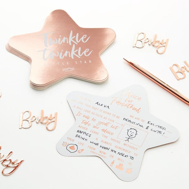 Rose Gold Baby Shower Advice Cards - Twinkle Twinkle Rose Gold Star Advice Cards - Baby Shower Game - Pack of 10