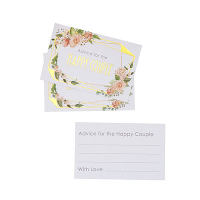Gold & Floral Wedding Advice Cards - Geo Floral Advice For The Bride and Groom Cards - Wedding Wishes Cards - Pack of 25
