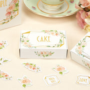 Gold & Floral Cake Boxes - Wedding Cake Boxes - Geo Floral - Pack of 10