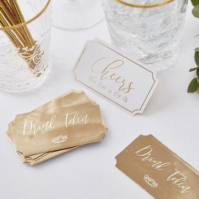 Gold Wedding Drinks Tokens - Gold and White Party Drinks Tokens - Gold and White Wedding Decor - Wedding Favours - Pack of 25