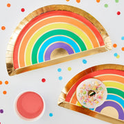 Rainbow Paper Plates - Foiled Gold and Rainbow Paper Party Plates - Over The Rainbow - Pack of 8