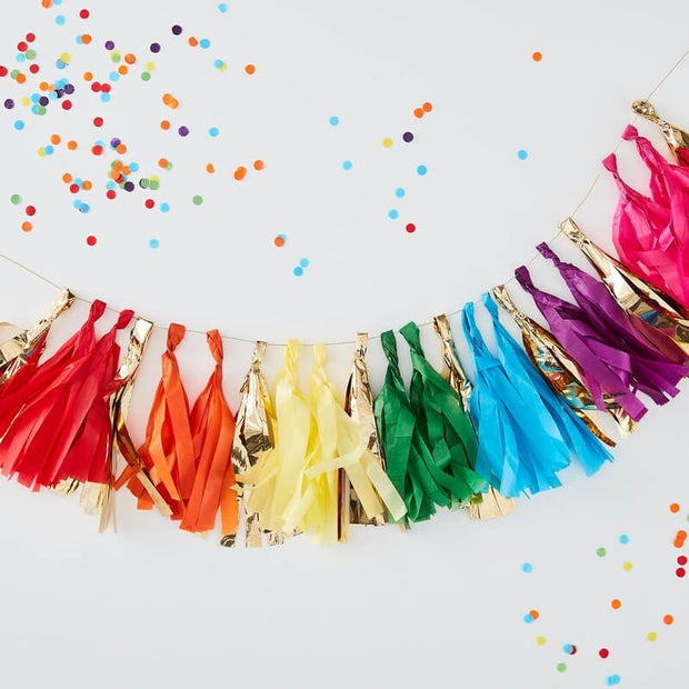 Gold and Rainbow Tassel Garland - Tassel Garland Kit - Rainbow Party Decorations