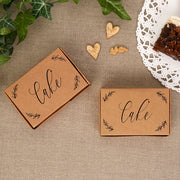 Cake Boxes - Kraft Card Wedding Cake Boxes - Brown Kraft Card Black Script Cake Boxes - Pack of 10
