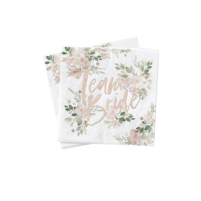 Rose Gold Floral Hen Party Napkins - Team Bride Paper Napkins - Pack of 16