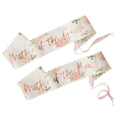 Rose Gold and Floral Mother of the Bride & Groom Sashes - Floral Team Bride Sashes - Pack of 2