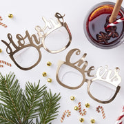 Gold Christmas Photo Prop Fun Glasses - Ho Ho Ho & Cheers Party Selfie Glasses