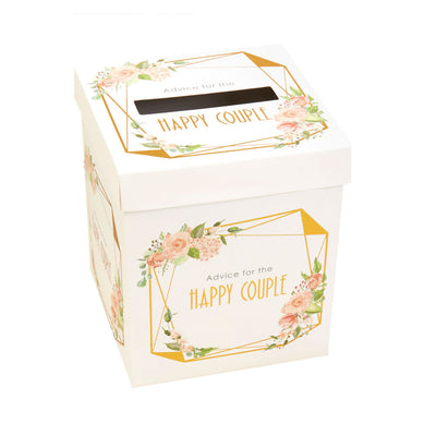 Gold & Floral Wedding Message Box - Wedding Advice Card Box - Advice For The Bride and Groom - Happy Couple
