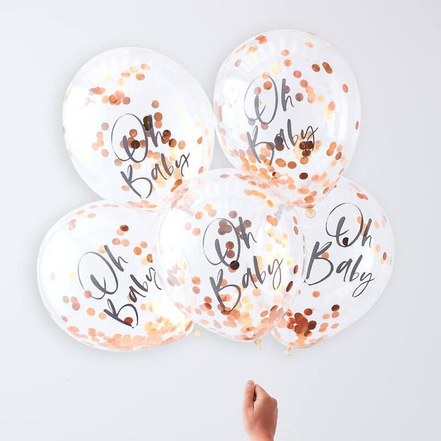 Oh Baby Rose Gold Confetti Balloons - Twinkle Twinkle Baby Shower Balloons - Pack of 5