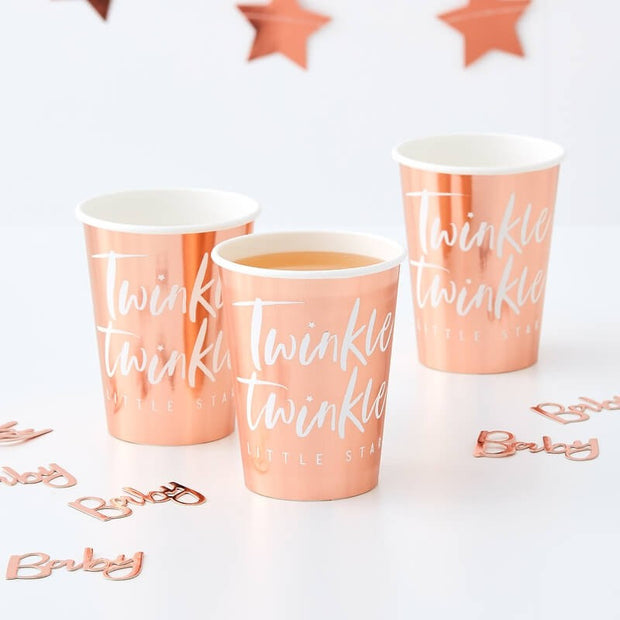 Rose Gold Twinkle Twinkle Paper Cups - Baby Shower Cups - Twinkle Twinkle Little Star - Pack of 8