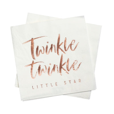 Rose Gold Baby Shower Napkins - Twinkle Twinkle Little Star Napkins - White & Rose Gold - Pack of 16