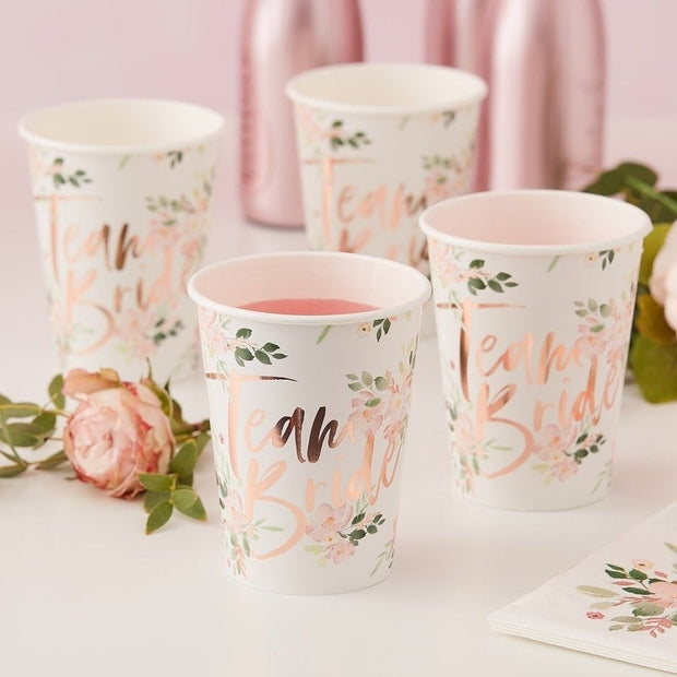 Rose Gold Team Bride Floral Hen Paper Cups - Hen Party Cups - Pack of 8