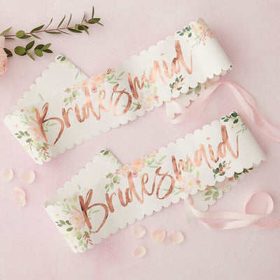 2 Rose Gold Bridesmaid Sashes - Team Bride Floral Hen Sashes - Bachelorette Sashes - Hen Party Sashes - Pack of 2