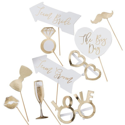 Wedding Photo Booth Props - Gold & White Wedding - Wedding Table Props - Pack of 10
