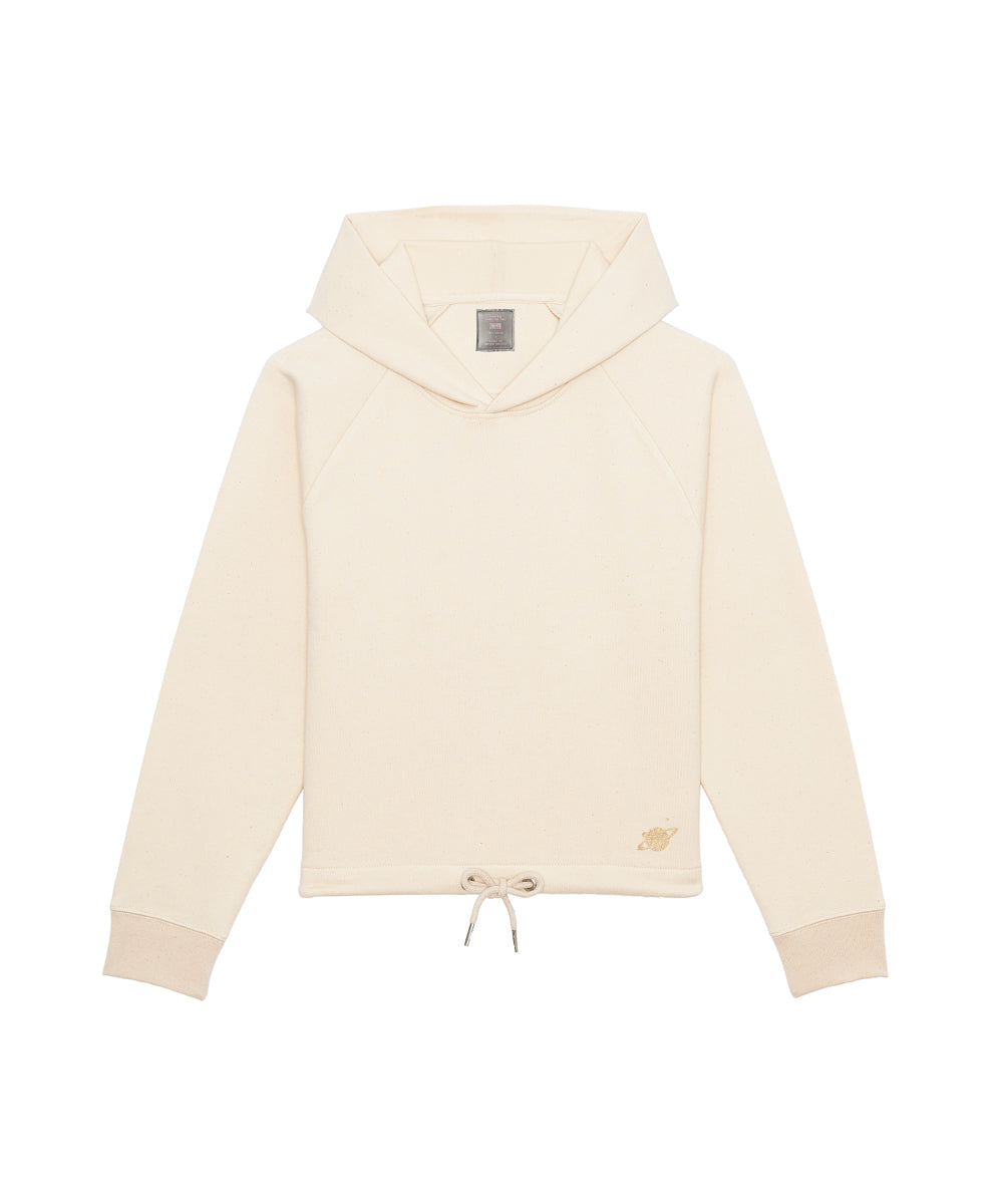 Off-white Hoodie kurz mit Signature Planet in gold am unteren Saumen