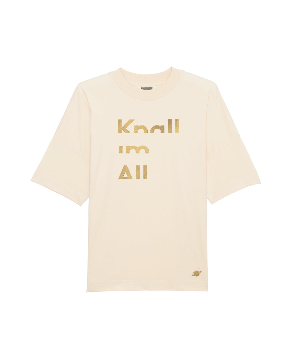 Off-white T-Shirt mit Statement Knall im All in gold auf dem Brustbereich
