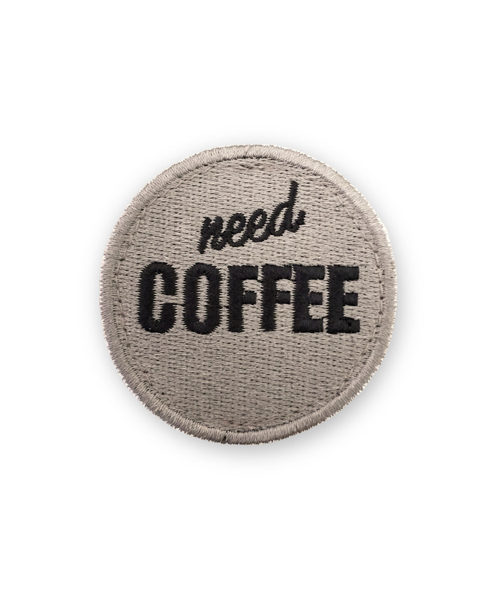 """Need Coffee""-Patch mit Klett"