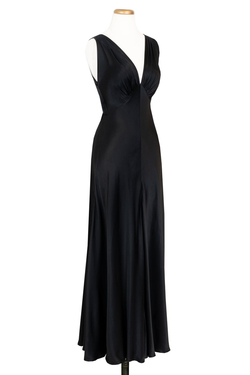 1930s Bias Gown - Black Satin